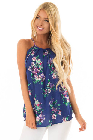 Ocean Blue Floral Gathered Tank Top with Button Up Back front close up