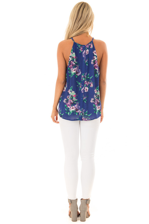 Ocean Blue Floral Gathered Tank Top with Button Up Back back full body