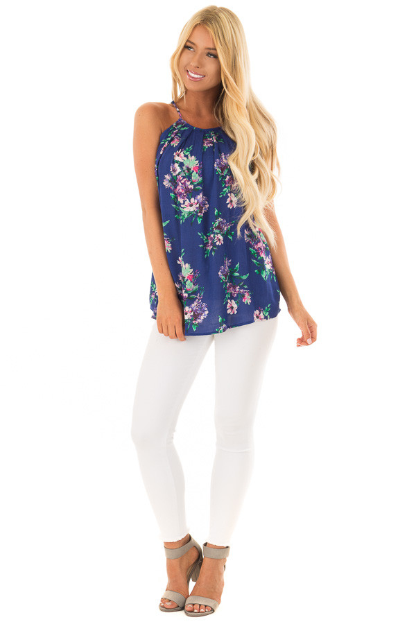 Ocean Blue Floral Gathered Tank Top with Button Up Back front full body