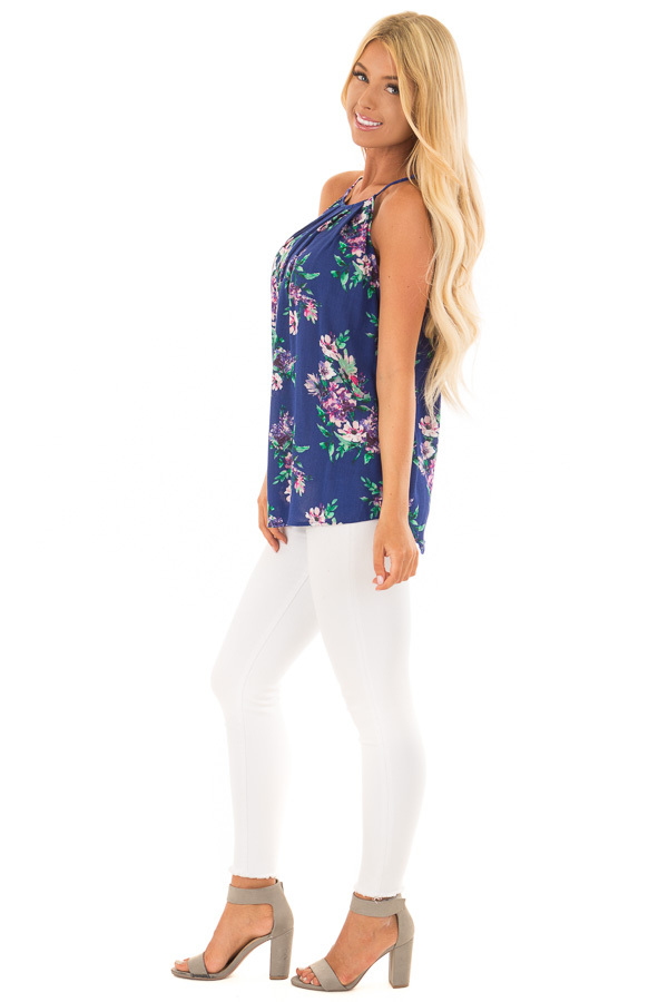 Ocean Blue Floral Gathered Tank Top with Button Up Back side full body