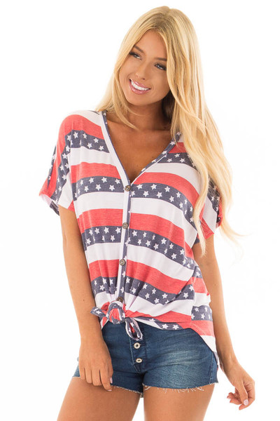 Americana Striped Button Down Top with Front Tie front close up