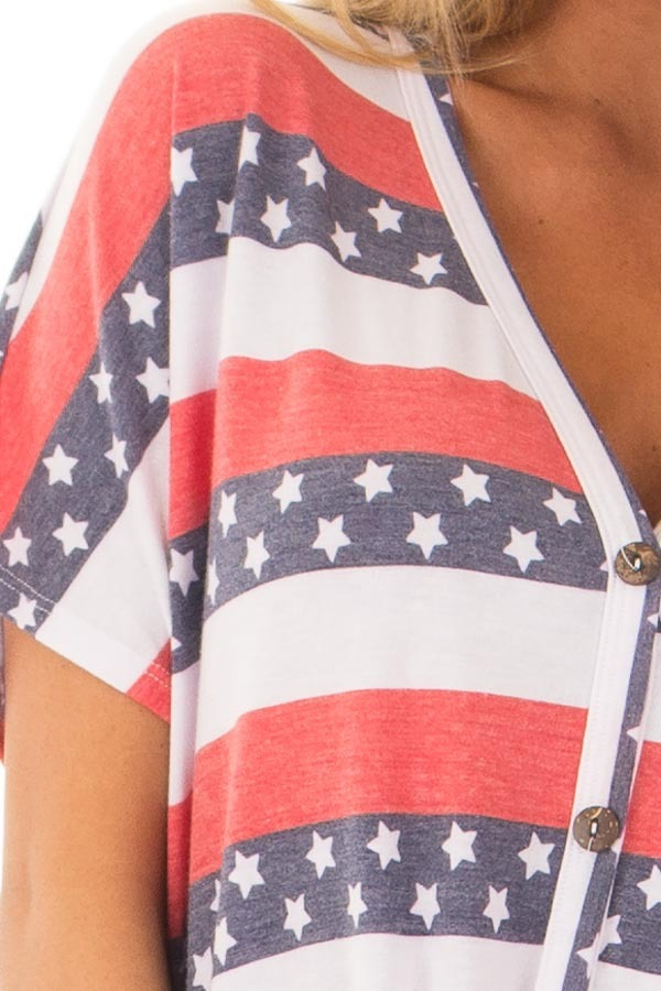 Americana Striped Button Down Top with Front Tie detail