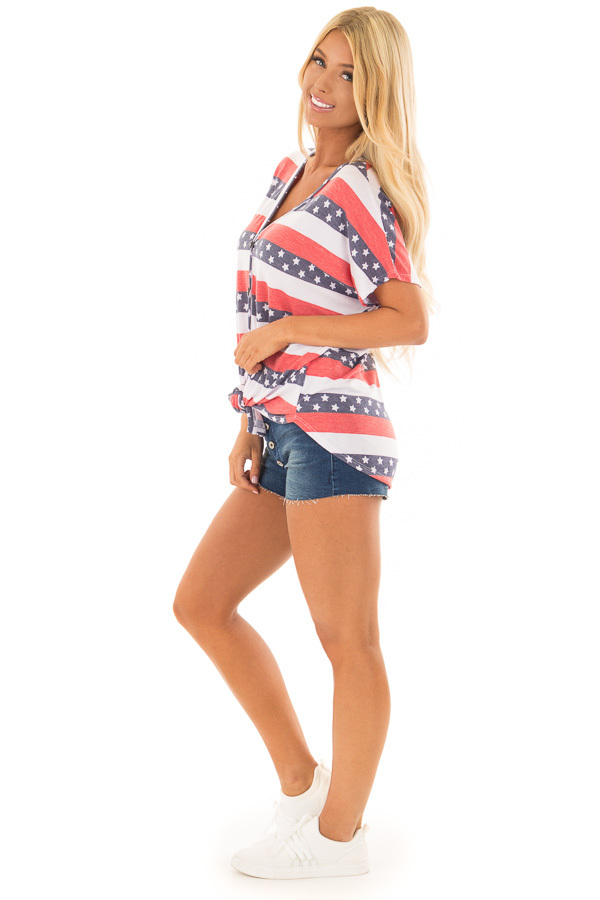 Americana Striped Button Down Top with Front Tie side full body