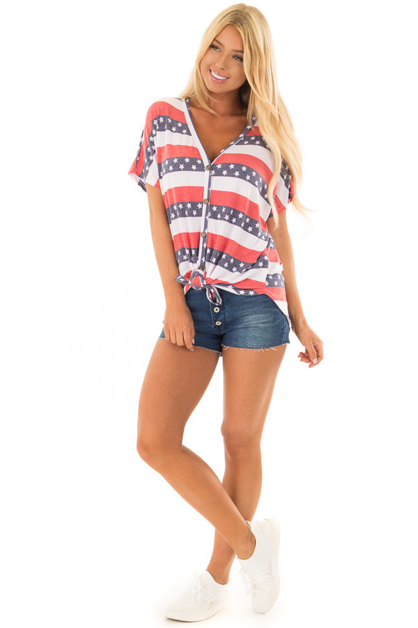 Americana Striped Button Down Top with Front Tie front full body