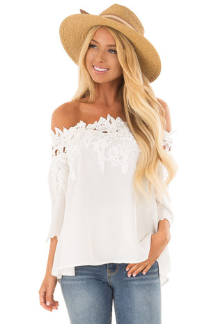 Ivory Off the Shoulder Top with Floral Lace Detail front close up