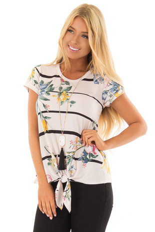 Blush Floral Print Top with Stripes and Tie Detail front close up