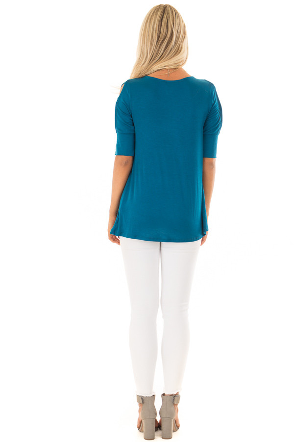 Azure Blue Top with Caged Cut Out Sleeves back full body