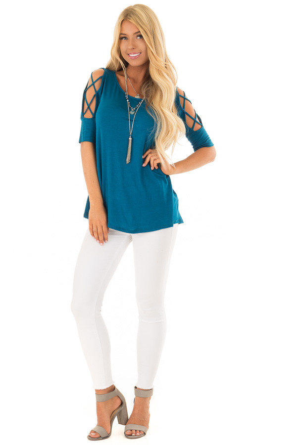 Azure Blue Top with Caged Cut Out Sleeves front full body