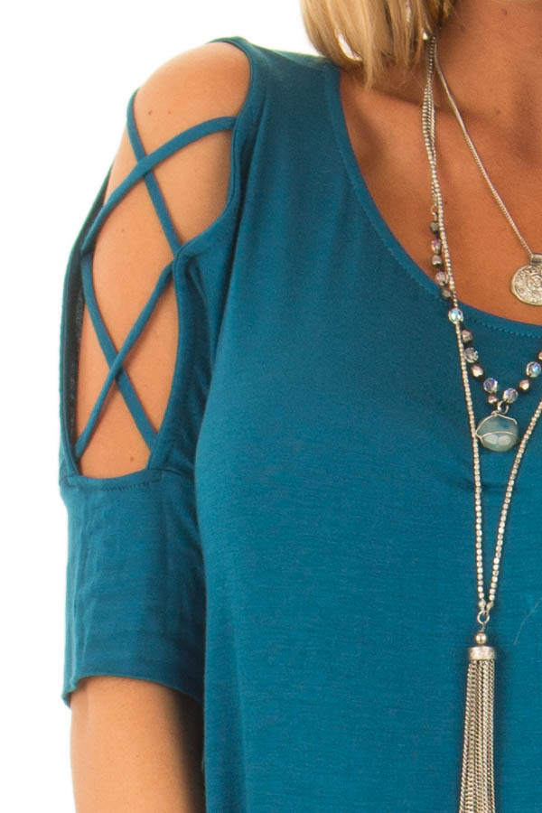 Azure Blue Top with Caged Cut Out Sleeves detail