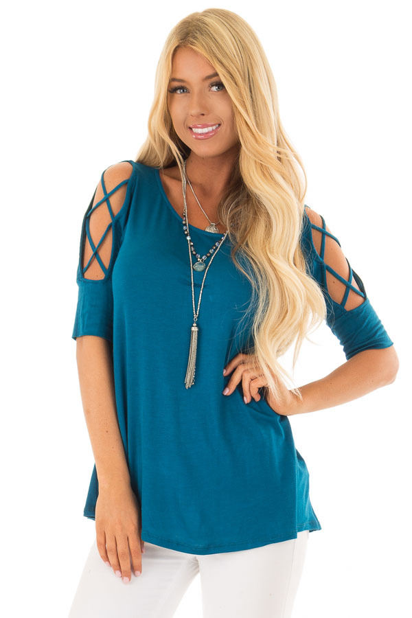 Azure Blue Top with Caged Cut Out Sleeves front close up