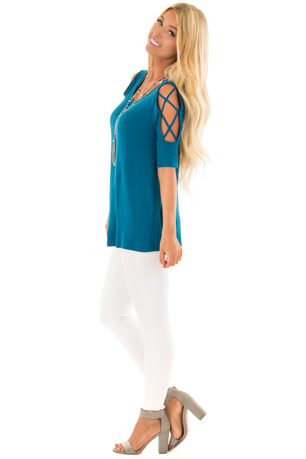 Azure Blue Top with Caged Cut Out Sleeves side full body