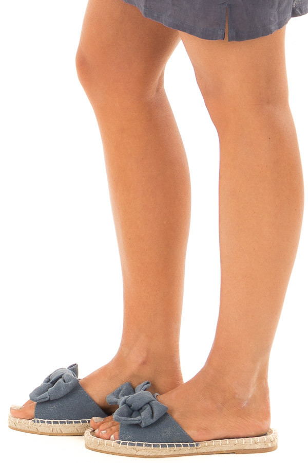 Denim Shimmer Open Toe Sandal with Knotted Bow Detail side view