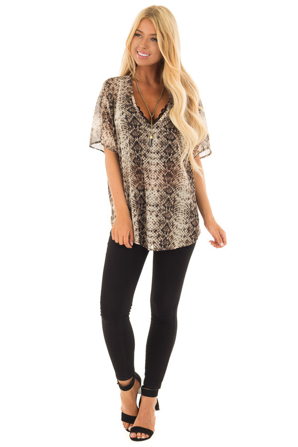 Taupe Snake Print Short Sleeve Blouse with Gold Accents front full body