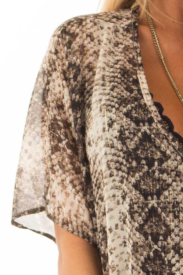 Taupe Snake Print Short Sleeve Blouse with Gold Accents detail