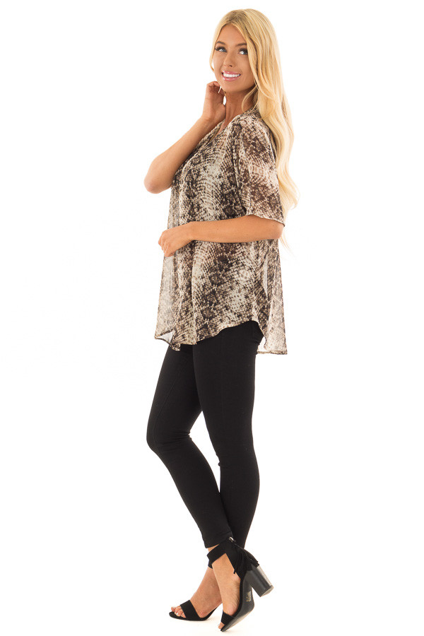 Taupe Snake Print Short Sleeve Blouse with Gold Accents side full body