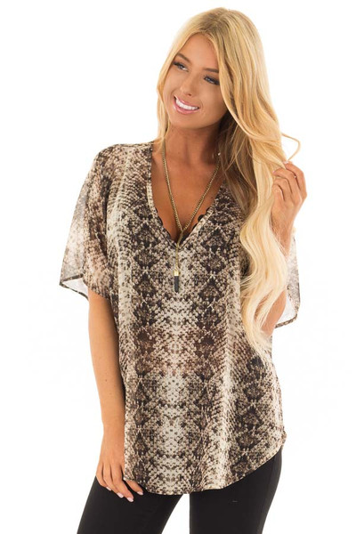 Taupe Snake Print Short Sleeve Blouse with Gold Accents front close up