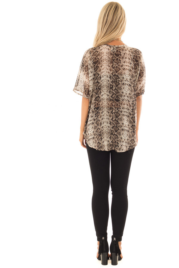Taupe Snake Print Short Sleeve Blouse with Gold Accents back full body