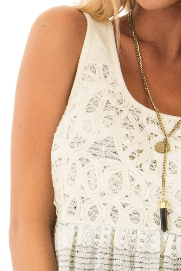 Cream and Black Two Tone Tank Top with Lace Detail detail