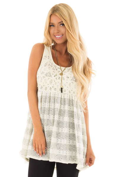 Cream and Black Two Tone Tank Top with Lace Detail front close up