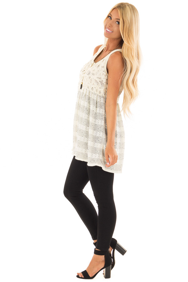 Cream and Black Two Tone Tank Top with Lace Detail side full body