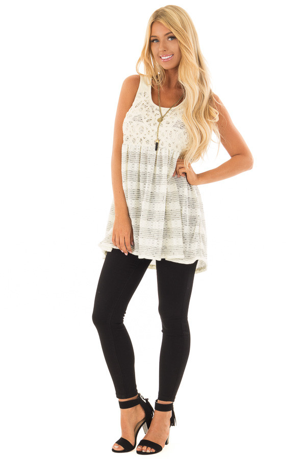 Cream and Black Two Tone Tank Top with Lace Detail front full body