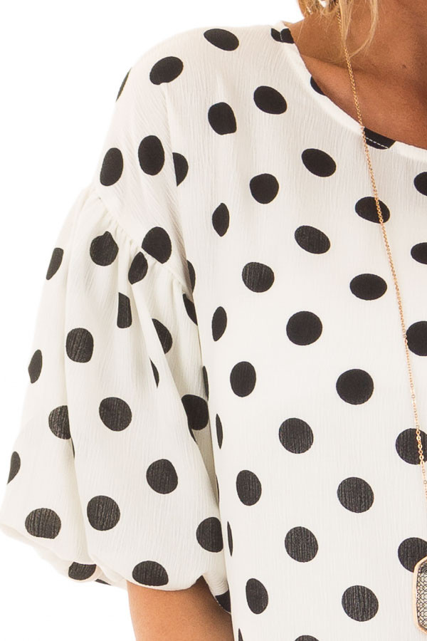 Black and Ivory Polka Dot Blouse with Bubble Sleeves detail