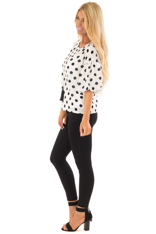 Black and Ivory Polka Dot Blouse with Bubble Sleeves side full body