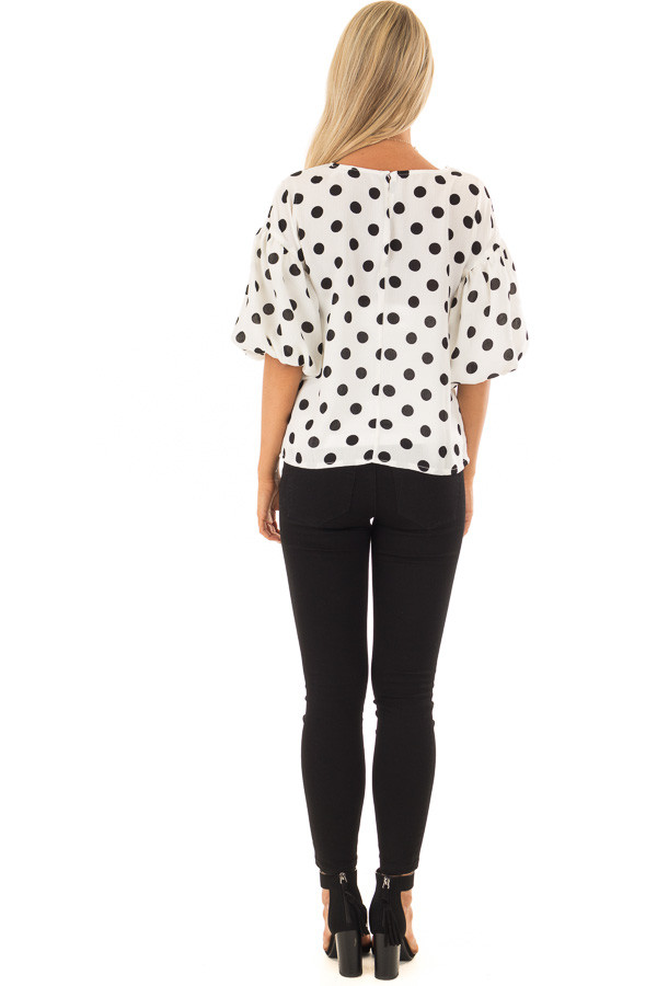 Black and Ivory Polka Dot Blouse with Bubble Sleeves back full body