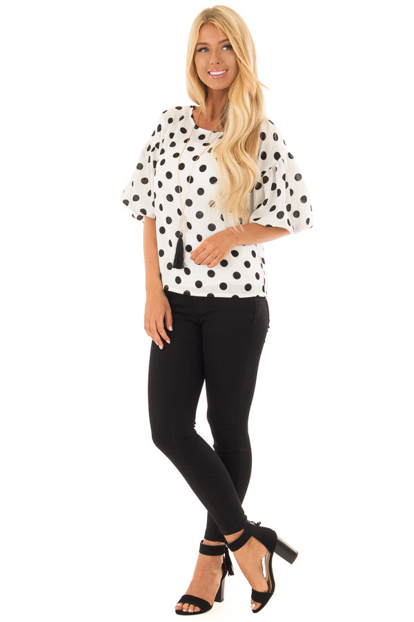 Black and Ivory Polka Dot Blouse with Bubble Sleeves front full body