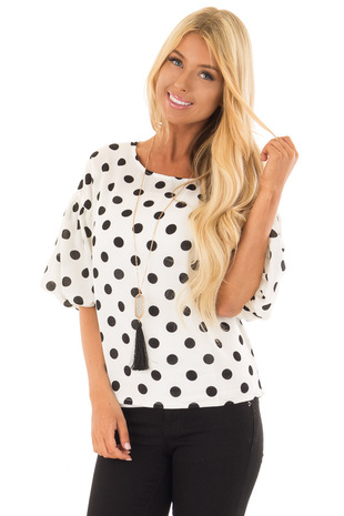 Black and Ivory Polka Dot Blouse with Bubble Sleeves front close up