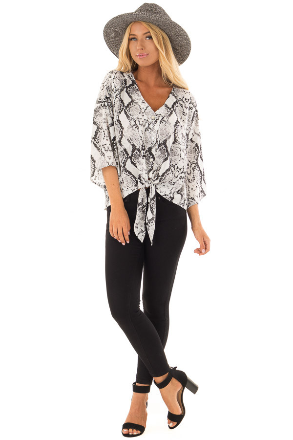 Black and White Snake Skin Print Top with Tie Detail front full body