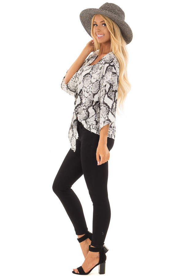 Black and White Snake Skin Print Top with Tie Detail side full body