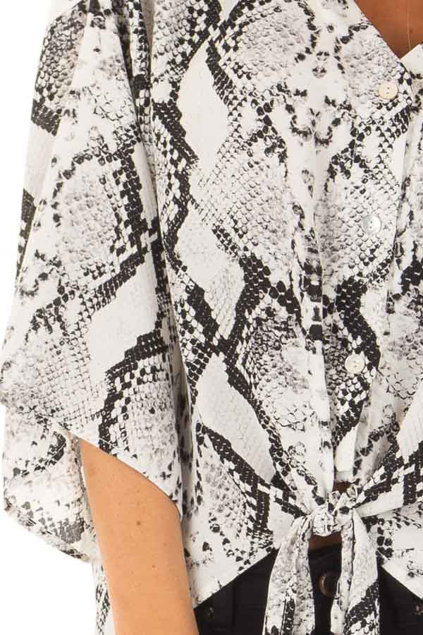 Black and White Snake Skin Print Top with Tie Detail detail