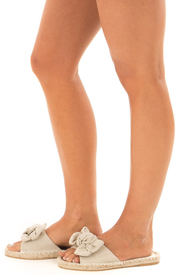 Natural Shimmer Open Toe Sandal with Knotted Bow Detail side view