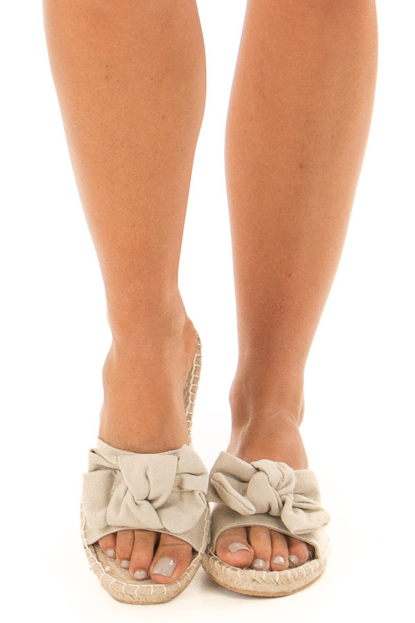 Natural Shimmer Open Toe Sandal with Knotted Bow Detail front view