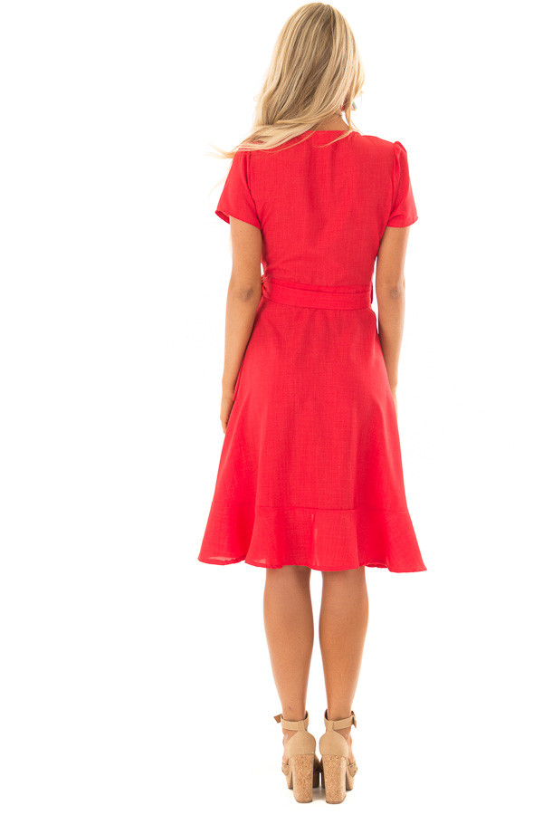 Candy Red Short Sleeve Wrap Dress with Waist Tie back full body