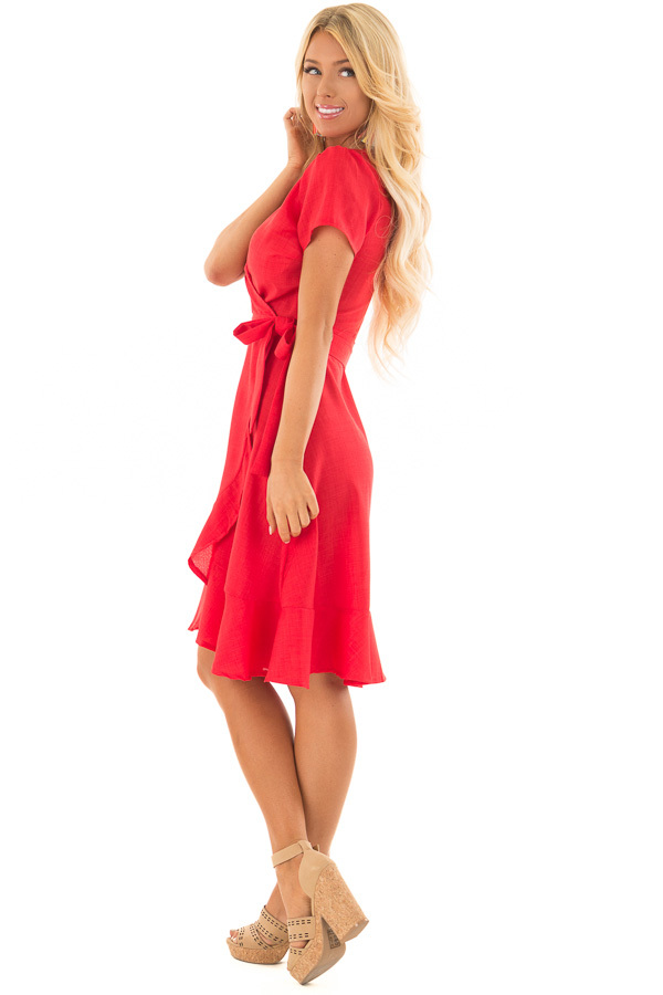 Candy Red Short Sleeve Wrap Dress with Waist Tie side full body