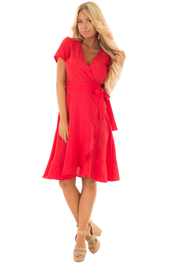 Candy Red Short Sleeve Wrap Dress with Waist Tie front full body