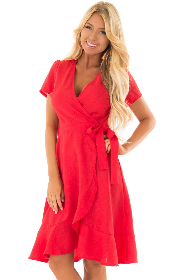 Candy Red Short Sleeve Wrap Dress with Waist Tie front close up