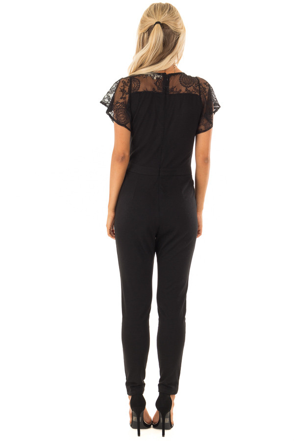Black V Neck Jumpsuit with Lace Short Sleeves back full body