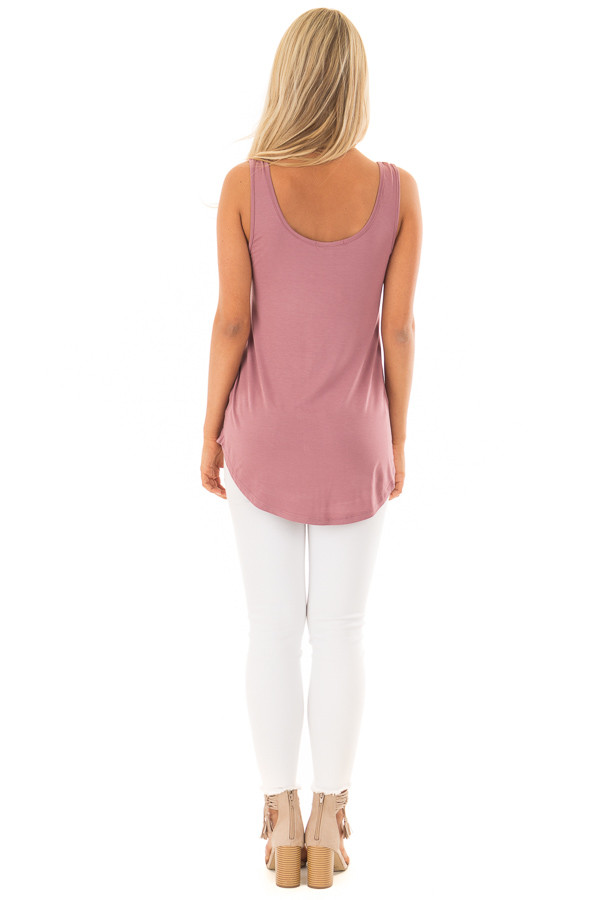 Dark Mauve Loose Scoop Neck Tank Top back full body