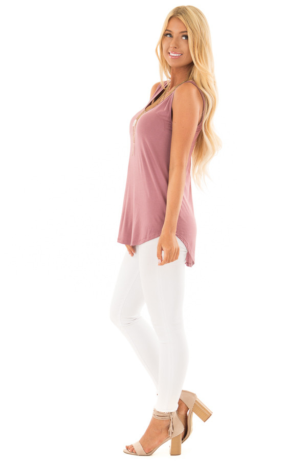 Dark Mauve Loose Scoop Neck Tank Top side full body