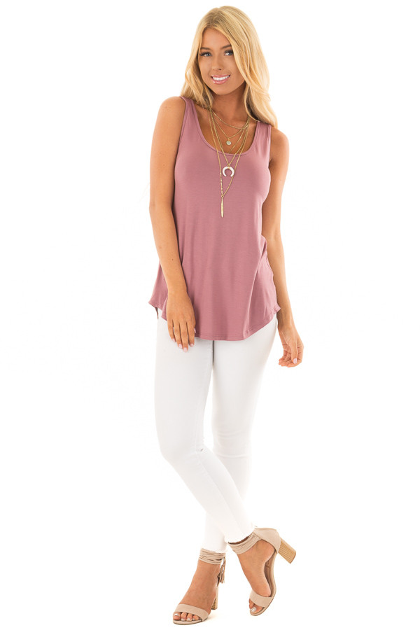 Dark Mauve Loose Scoop Neck Tank Top front full body