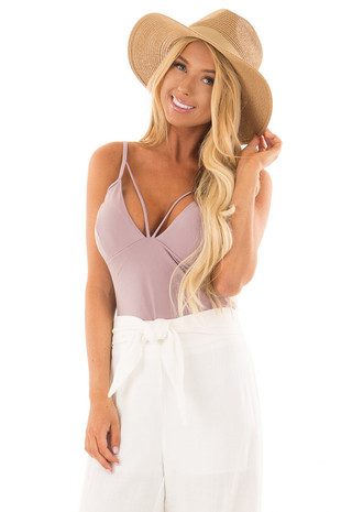 Dusty Rose Bodysuit with Strappy Neckline front close up