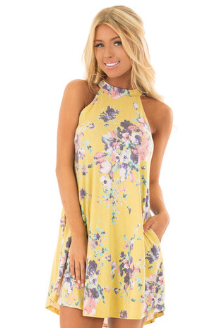 Goldenrod Floral Print Halter Swing Dress front close up