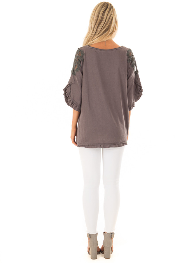 Charcoal Bell Sleeve Top with Sheer Lace Detail back full body