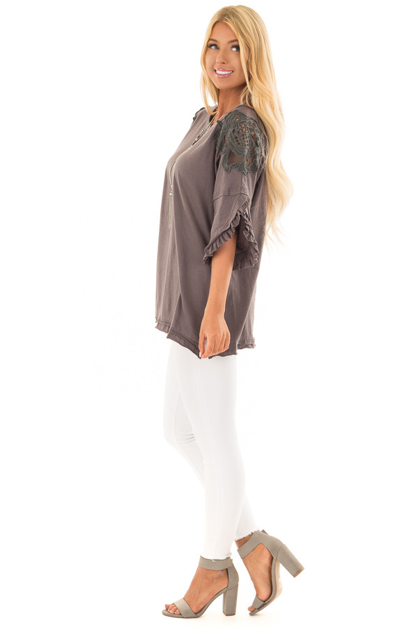 Charcoal Bell Sleeve Top with Sheer Lace Detail side full body