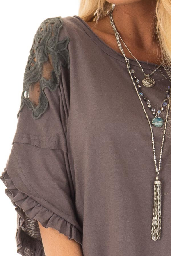 Charcoal Bell Sleeve Top with Sheer Lace Detail detail