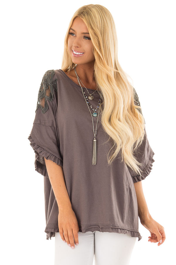 Charcoal Bell Sleeve Top with Sheer Lace Detail front close up