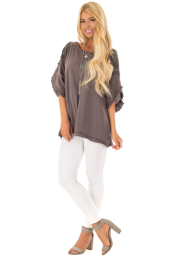 Charcoal Bell Sleeve Top with Sheer Lace Detail front full body